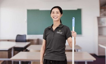 Professional cleaning in a classroom