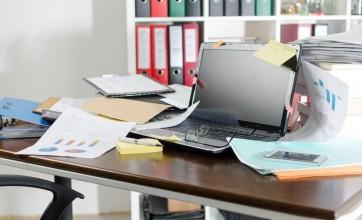 Untidy school desk